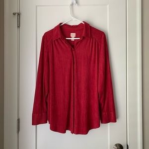 Chicos Faux Suede Button down top